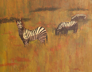 Zebras, a painting by Collette Caprara (MG: January 2013)
