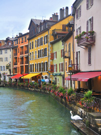 Hotelson Canal Annecy, a metallic photograph by Deborah Herndon (MG: March 2013)