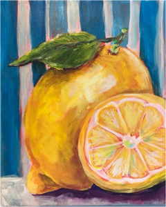 Lemons, Acrylic on Canvas by Katherine Arens, 10in x 8in, $80 (August 2018)