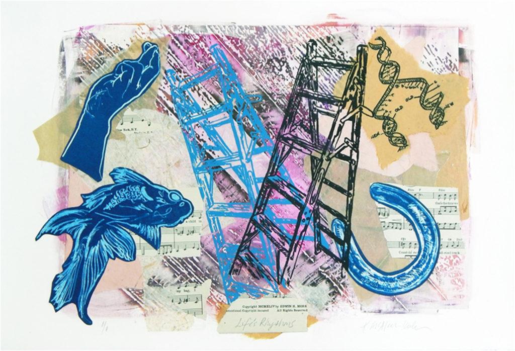 HONORABLE MENTION: Life's Rhythms, Handpulled Screenprint by Kerry McAleer-Keeler, 15in x 22in, $425 (August 2018)