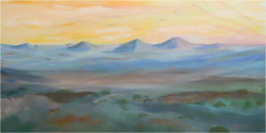 Medicine Mounds, Acrylic by R. Taylor Cullar, 24in x 48in, $500 (August 2018)