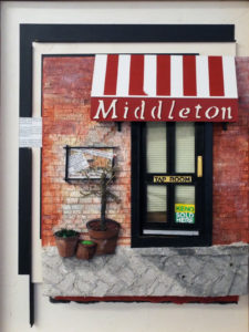 Middleton Tavern Tap Room, Paper Construction by Katharine K. Owens, 24in x 18in x 2in, $900 (August 2018)