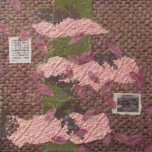 Cherry Blossoms, Mixed Media Collage by Kay L. Roscoe, 12in x 12in, $150 (September 2018)