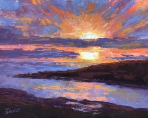 Sunset In New England, work by Joan Dreicer, 8x10 (October 2018)