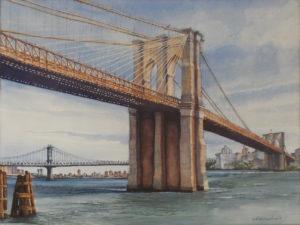 East River Crossings, Watercolor by Lizabeth Castellano-King, 18in x 24in, NFS (September 2018)