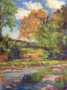 Afternoon at the River, work by Jan Settle, 12x16 (October 2018)