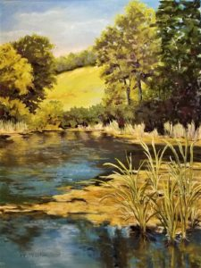 Peaceful Pond, work by Kathleen Willingham, 24x18 (October 2018)