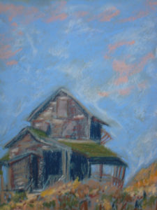 House At Beach, Pastel by Sheila Chandler, 12in x 9in, $175 (October 2018)