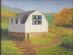 Quilt Barn, Western Maryland, Pastel by Kathy Waltermire, 18in x 24in, $250 (October 2018)