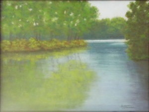 Springtime at the Lake, Pastel by Kathy Staicer, 12in x 16in, $350 (October 2018)
