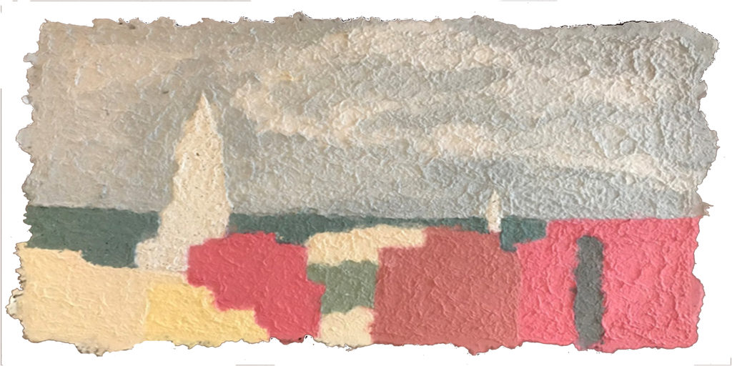 SECOND PLACE: Alexandria Skyline, Pulp Painting, Recycled Fiber, Mat Board by Jennifer Galvin, 15in x 30in, $250 (November 2018)