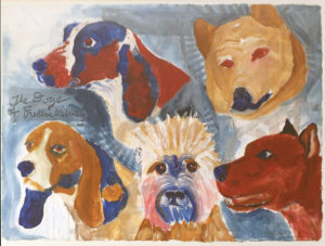 Dogs of Fredericksburg-City Council, Acrylic on Paper by Cathy C. Herndon, 23.5in x 31in, $750 (November 2018)