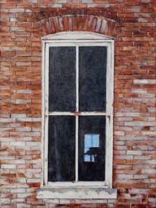 Windows, Mixed Media by Charlotte Burrill, 16in x 12in x 1.5in, $130 (November 2018)