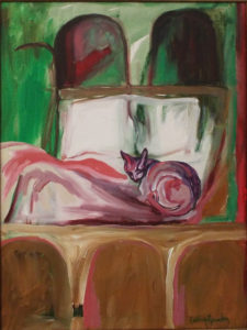 Beds I Have Known No.7, Acrylic on Canvas by Cathy Herndon, 24in x 18in, $200 (Dec. 2018-Jan. 2019)