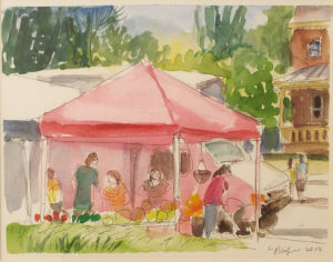 Farmer's Market, Watercolor by Carol Phifer, 5.5in x 7in, $150 (Dec. 2018-Jan. 2019)