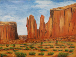 Monument Valley Majesty, Acrylic by Jane Cariker, 12in x16in, $150 (Dec. 2018-Jan. 2019)