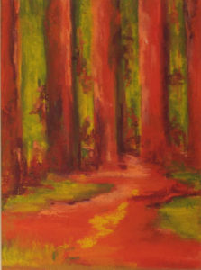 Red Woods, Oil by Kathleen Willinhgam, 15.5in x 11.5in, $375 (Dec. 2018-Jan. 2019)