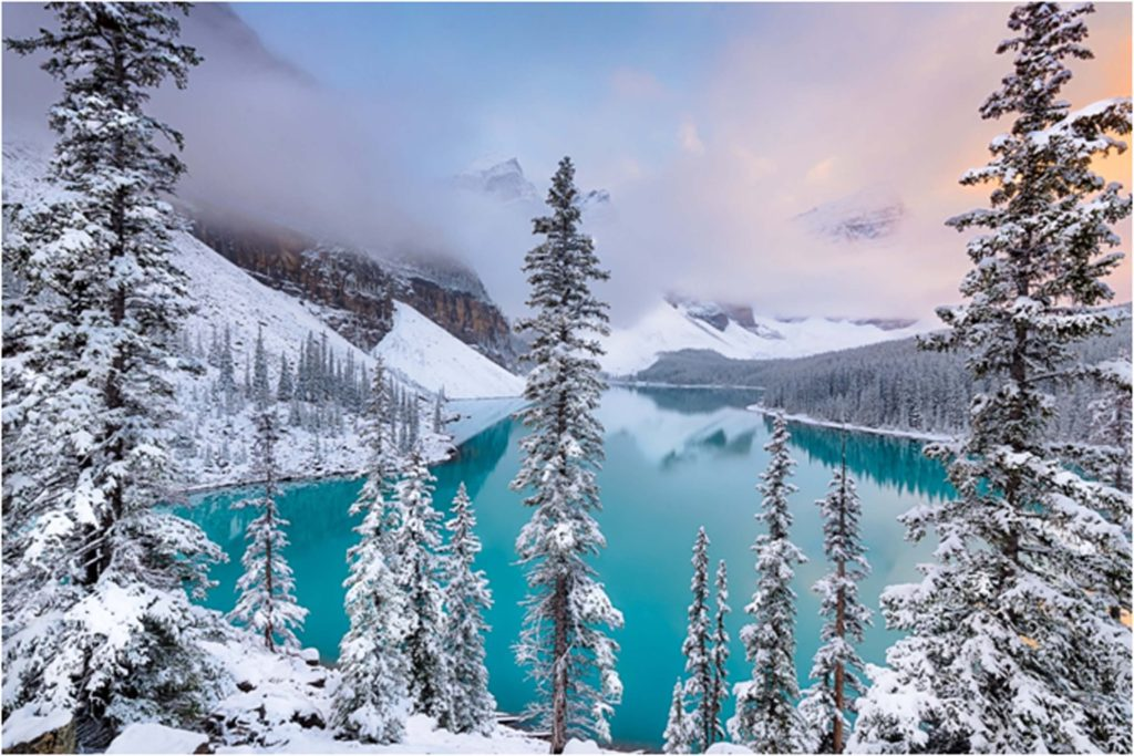 HONORABLE MENTION: Moraine Lake Magic, Photography by Theresa Rasmussen, 12in x 18in, $160 (February 2019)