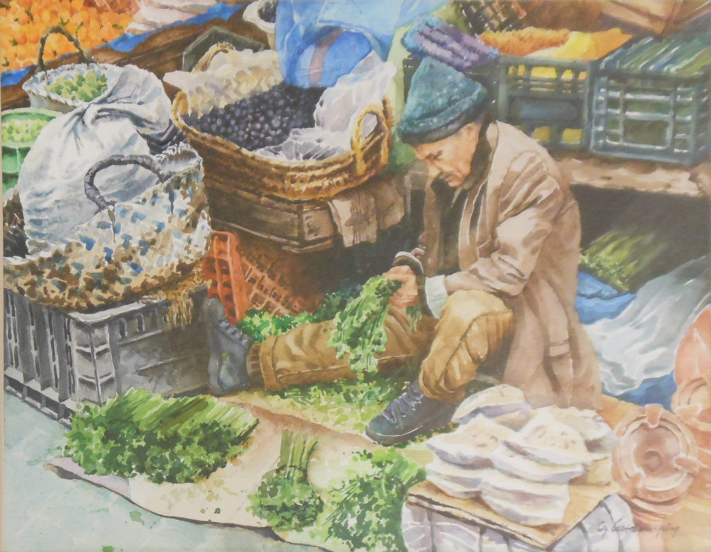 HONORABLE MENTION: Moroccan Street Vendor, Watercolor by Lizabeth Castellano-King, 14in x 18in, $375 (March 2019)