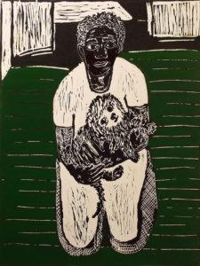 Not Alone, Lino Cut Block Print by Linda Larochelle, 24in x 18in, $425 (March 2019)