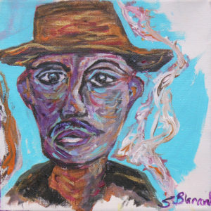 Smoking Man, Mixed Media by Sharon Blancard, 6in x 6in, $55 (March 2019)