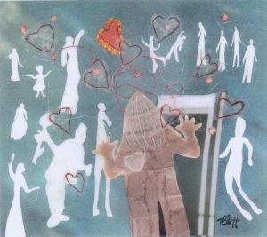 Sofia's Heart, Silhouette Collage by Teresa Blatt, 8in x 9in, $180 (March 2019)