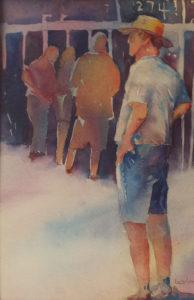 At the Depot, Watercolor by Amanda Lee, 11in x 8in, $150 (May 2019)