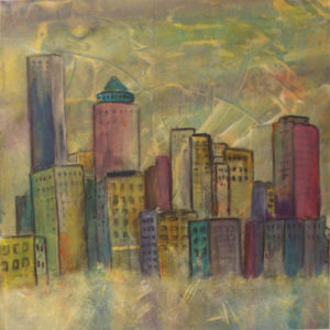 City Nights, Mixed Media by Bev Bley, 15in x 15in, $300 (May 2019)