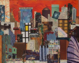 Crosstown, Mixed Media by Kay L. Roscoe, 16in x 20in, $200 (May 2019)