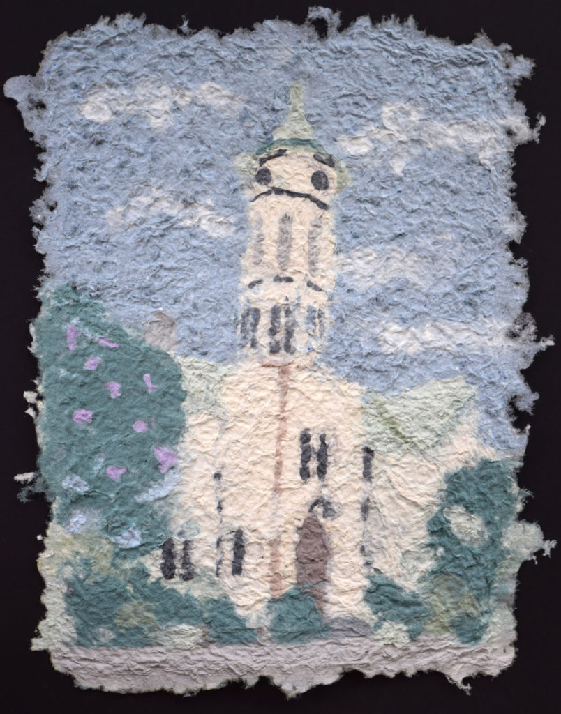 HONORABLE MENTION: Fredericksburg Historic Courthouse, Pulp Painting with Recycled Fiber by Jennifer Galvin, 14in x 11in, $165 (May 2019)