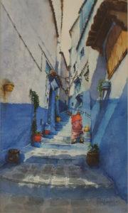 Moroccan Blue Alley, Watercolor by Lizabeth Castellano-King, 15in x 9in, $540 (May 2019)