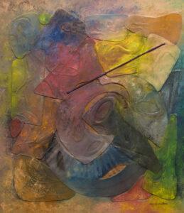 Jazz Pallet, Plastic on Corrugated Board by Ronald J. Walton, 44in x 38in, $7500 (June 2019)