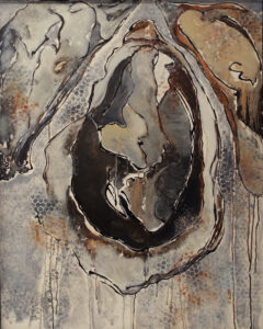 Blue Umber Oysters, Oil by Toni Scott, 30in x 24in, $600 (July 2019)