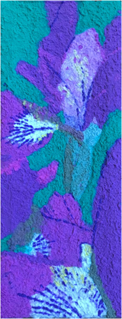 HONORABLE MENTION: Irises, Pulp Painting with recycled fiber by Jennifer Galvin, 39in x 15in, $225 (July 2019)