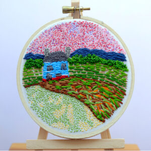 Little Blue Farm House, Texture (hand embroidery) by Mary E. Johnson-Mason, 4in x 4in, $95 (July 2019)