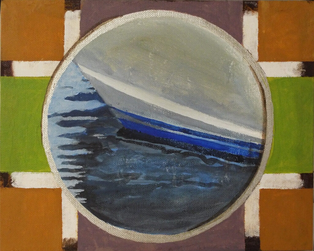 HONORABLE MENTION: Portholes 11-Boat, Mixed Media on canvas by Cathy C. Herndon, 8in x 10in, $125 (July 2019)