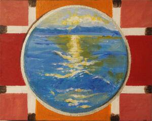 Portholes 9-Sunset, Mixed Media on canvas by Cathy C. Herndon, 8in x 10in, $125 (July 2019)