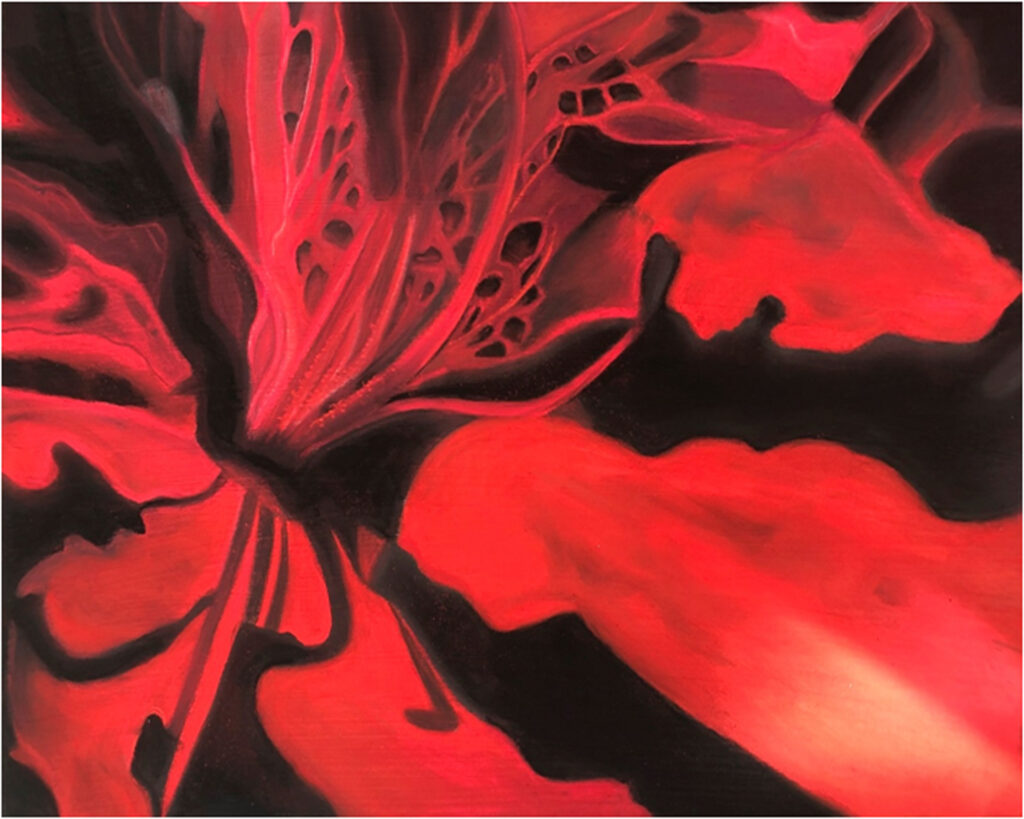 HONORABLE MENTION: Red Azalea, Pastel by Victoria McCracken, 16in x 20in, $125 (July 2019)