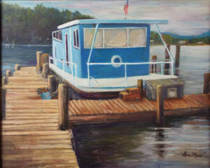 Smith Mountain Lake Boat House, Oil by Ina Moss (April 2016)