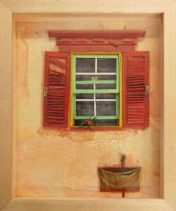 Window with Pink Shutters, Paper Construction and Mixed Media by Katharine Owens (April 2016)