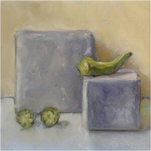 Okra on Cube, Oil on Cradled Panel by Kris Rehring (Dec. 2013-Jan. 2014)