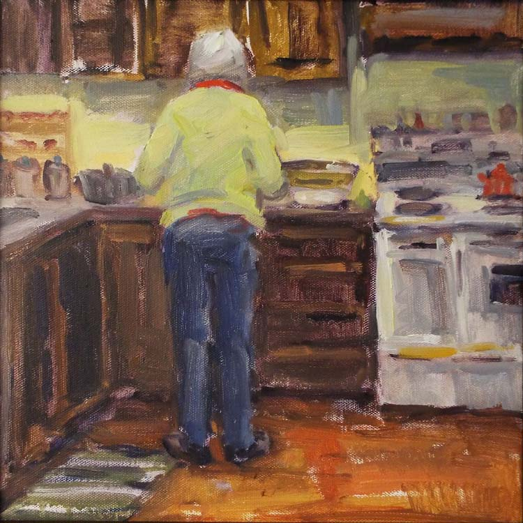 HONORABLE MENTION: Betsy with Bea's Mixing Bowl, Oil by Nancy Bowen Brittle (March 2016)