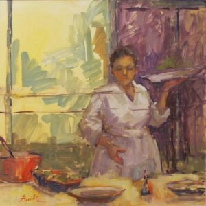 Serving the Venetian Buffet, Oil by Nancy Bowen Brittle (March 2016)