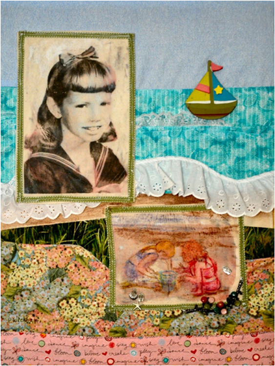HONORABLE MENTION: Childhood Memories, Photo Mix Media Textiles by Peggy Wickham (February 2016)