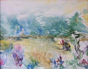 Carly's Meadow, Watercolor on Yupo by Rita Rose and Rae Rose (November 2013)