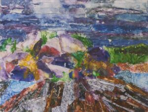Rocks at Two Lights, Monoprint by Suzanne Steward (November 2013)