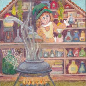 Book Illustration-page 18, Oil by Sally Rhone-Kubarek, 8in x 8in, $220 (Dec. 2019 - Jan. 2020)
