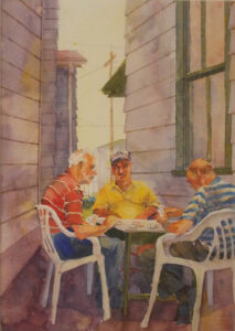 Card Game, Watercolor by Kit Paulson, 12in x 8.50in, $450 (Dec. 2019 - Jan. 2020)