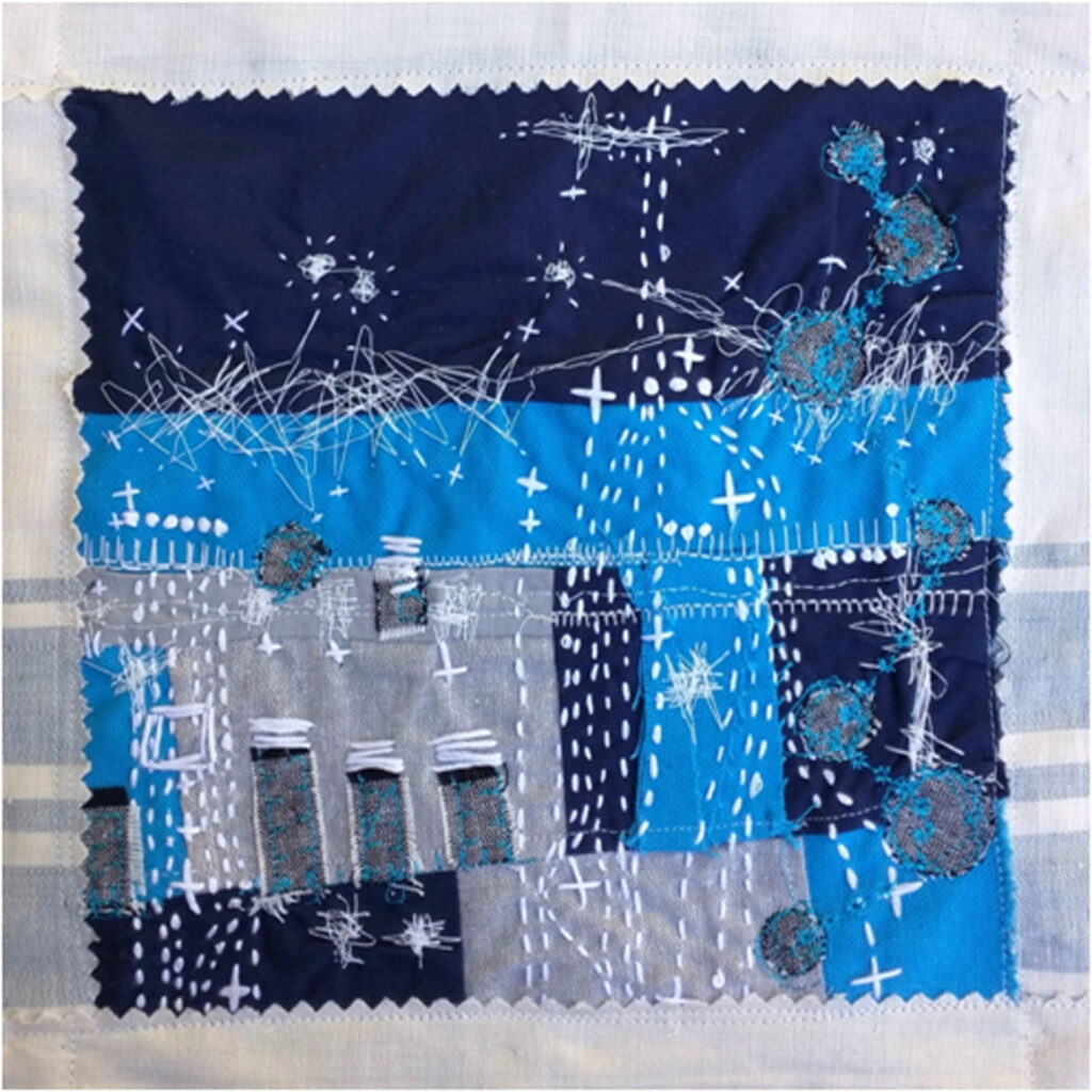 HONORABLE MENTION: Cloister Cottage Castle, Cotton Fabric and Embroidery Thread by Maura Harrison, 10in x 10in, $85 (Dec. 2019 - Jan. 2020)