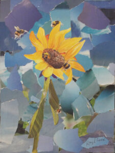 Honey Bees, Collage by Kay L. Roscoe, 12in x 9in, $90 (Dec. 2019 - Jan. 2020)